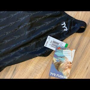 TYR Fusion 2 Short John Swim Suit, Black, 36 -Inch
